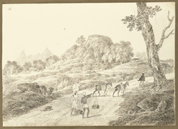 Wooded rock with view of peaks on the road to Raghunathpur (West Bengal); to the right an Englishman going ahead on foot followed by his horses and servants. 4 February 1823